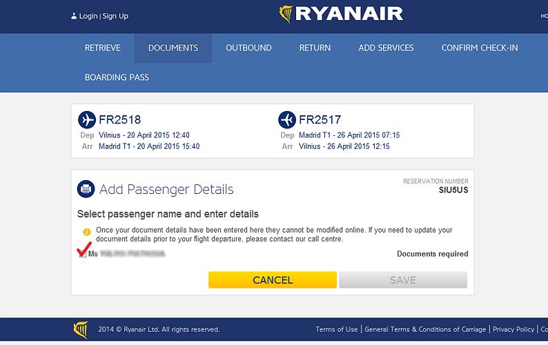 ONLINE CHECK-IN RyanAir 3