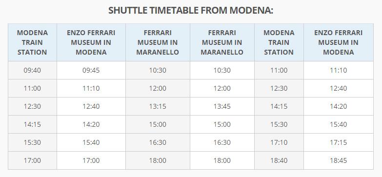 Расписание автобуса Модена Музей Феррари